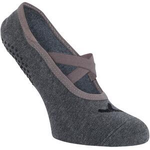 Ballerina-Socken 500 Pilates & sanfte Gymnastik Damen hellgrau