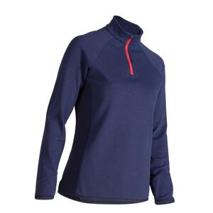 Golf Pullover Zip warm Damen dunkelblau