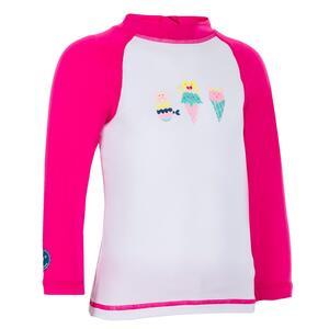 UV-Shirt langarm Baby weiß/rosa Print