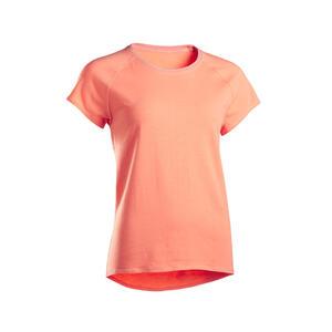 T-Shirt sanftes Yoga Biobaumwolle Damen koralle