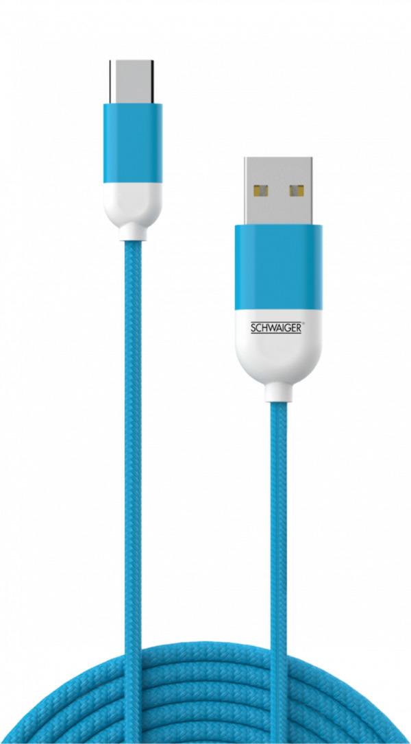 Schwaiger Type-C-Sync-Ladekabel, blau