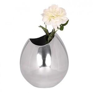 Wohnling Deko Vase Bowl aus Aluminium Blumenvase in silber