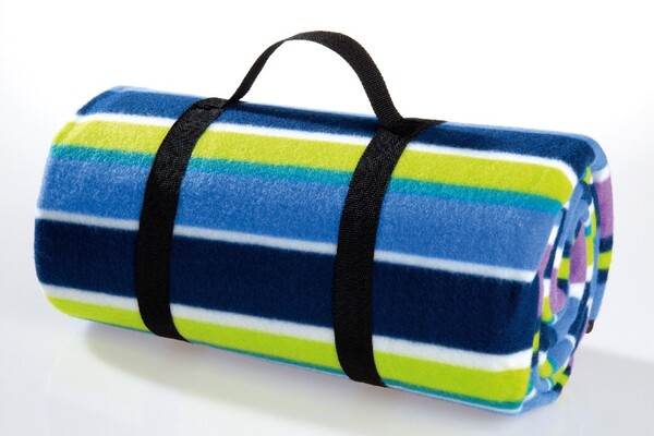 Solax-Sunshine Picknick-/Reisedecke - Streifen Grün/Blau/Lila