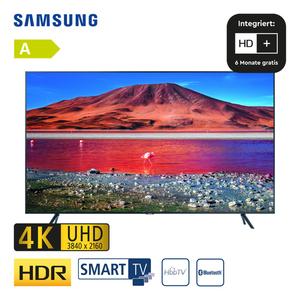 """GU43TU7179 • 2 x HDMI, USB, CI+ • integr. Kabel-, Sat und DVB-T2-Receiver • Maße: H 55,8 x B 96,3 x T 5,9 cm • Energie-Effizienz A (Spektrum A+++ bis D), Bildschirmdiagonale: 43""""/108 cm"""