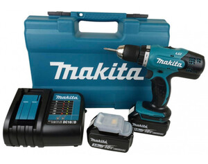 Makita DDF453SFX1 Akku-Bohrschrauber 2x 3.0Ah 18V, Ladegerät, Koffer, 74-tlg.Set