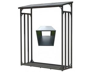 Grasekamp Kaminholz Lager 130 x 60 x 203 cm und Box für Anmachholz mit Doppelstegplatten Regal Stapelhilfe Aussen