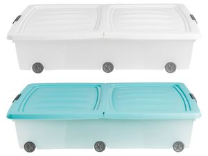 CASSETTI® Unterbett Rollenbox, mit beidseitig klappbarem Deckel, 52 L Fassungsvermögen