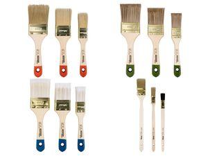 PARKSIDE® Pinsel-Set, 3-teilig, hohe Deckkraft, mit Kunstfaser-Filamenten, Pappelholz-Griff