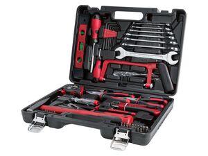 PARKSIDE® Werkzeugkoffer, 64-teilig, mit Wasserwaage, Handsäge, Zangen, Hammer