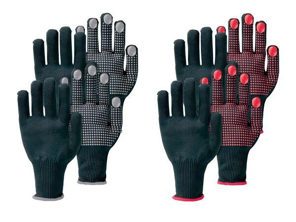 PARKSIDE® Arbeitshandschuhe, 2 Paar, mit Anti-Rutsch-Noppen, elastischer Strickbund