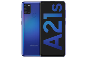 Samsung Galaxy A21s blue Smartphone (6,5 Zoll, 32 GB, 48 MP + 8 MP + 2 MP + 2 MP, Quad-Kamera, 5.000-mAh, Octa-Core, Fingerabdrucksensor, Gesichtserkennung, blau)