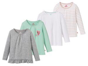 LUPILU® Langarmshirts Mädchen, 4 Stück, hoher Bio-Baumwollanteil, mit Schulterknöpfung