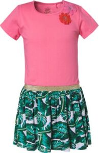 Kinder Jerseykleid mit Blumenapplikation pink Gr. 92/98 Mädchen Kleinkinder