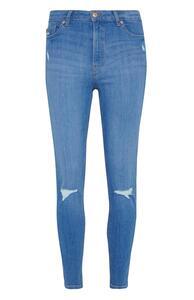 Hellblaue Skinny Jeans im Used-Look