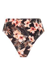 Schwarze High-Waist-Bikinihose mit Blumenmuster