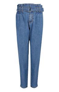 Blaue Mom-Jeans mit Paperbag-Bund