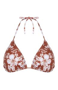 Braunes Mix & Match Bikinitop mit Blumenmuster