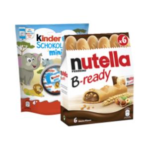 Nutella B-ready, Kinder Schokolade Mini oder Kinder Bueno Mini