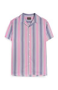 Kem Cetinay Hemd mit rosa-blauen Streifen
