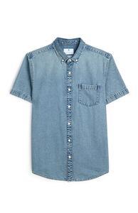 Denim-T-Shirt mit Knopfleiste