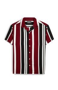 Burgunderrot und marineblau gestreiftes T-Shirt