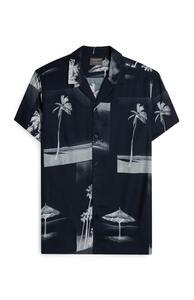 Schwarzes Hemd mit Palmen-Fotodruck und Knopfleiste
