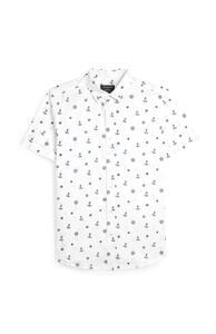 Weißes Kurzarmhemd mit Ankermuster