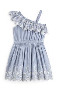 Blaues One-Shoulder-Kleid mit Stickerei (kleine Mädchen)