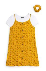 Gelbes 2-in-1-Kleid mit Blumenmuster und Haargummi (Teeny Girls)