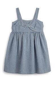 Marineblau-weißes Kleid mit Nadelstreifen (kleine Mädchen)