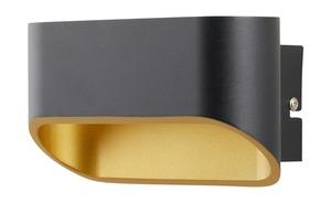 LED-Wandleuchte, 2-flammig, schwarz/gold