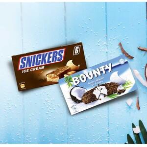 Snickers Eis 6er oder Bounty Eis 6er jede 318/300-ml-Packung und weitere Sorten
