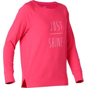 Langarmshirt 500 Regular Gym & Pilates Damen rosa mit Print