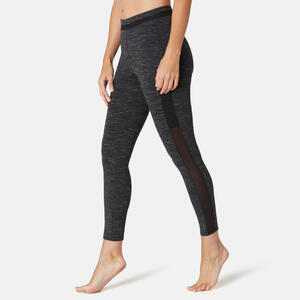 Leggings 7/8 520 Slim Sport Pilates sanfte Gym Damen schwarz meliert