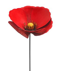 Dehner Metall-Dekostab Mohnblume, rot