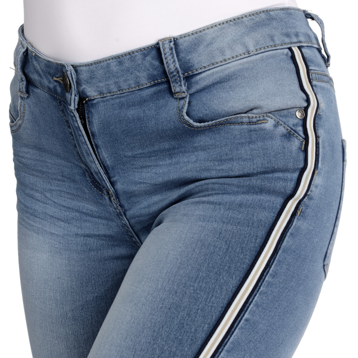 Bild 5 von Damen Slim-Jeans mit Galonstreifen