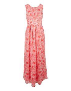 s. Oliver - langes Crepe-Kleid mit Raffungen und Farndruck