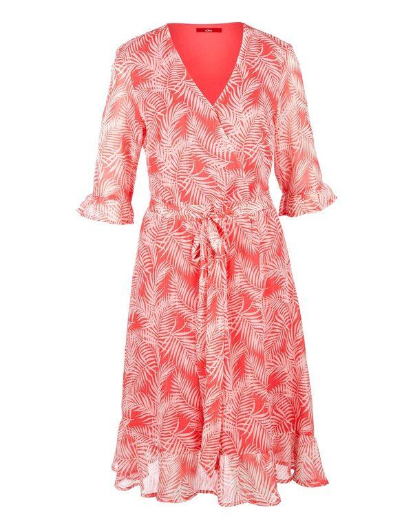 s. Oliver - Crepe-Kleid mit Volants und Farndruck