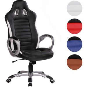 AMSTYLE Bürostuhl RACER Kunstleder Gaming Chefsessel mit Armlehne gepolstert 110 kg Gamer Drehstuhl Schreibtischstuhl Design Drehsessel