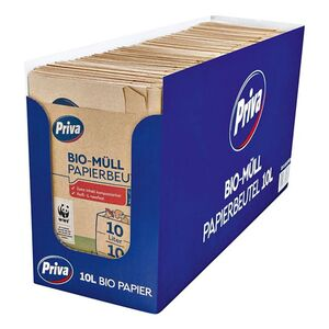 Priva Bio Müll Papierbeutel 10 x 10 L, 15er Pack