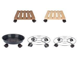LIVARNO LIVING® Pflanzenroller, mit 4 Doppelrollen, 50 kg Tragkraft, aus Massivholz | Stahl