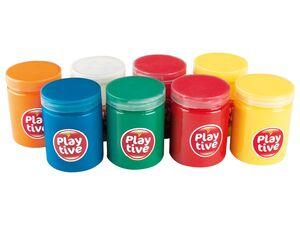 PLAYTIVE® Fingermalfarben, 8 Dosen Fingermalfarbe, ab 3 Jahren