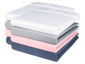 MERADISO® Jersey Spannbettlaken, 2 Stück, 90-100 x 200 cm, Rundumgummizug, mit Baumwolle