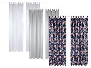 MERADISO® Vorhang, 2-teilig, 135 x 265 cm, mit Schlaufen, blickdicht, mit Baumwolle
