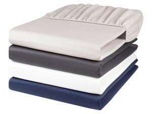 MERADISO® Satin Spannbettlaken, 140-160 x 200 cm, Rundumgummizug, aus reiner Baumwolle