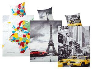 MERADISO® Renforcé Bettwäsche, 135 x 200 cm, mit Knopfleiste, aus reiner Baumwolle