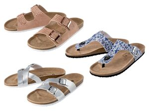 ESMARA® Pantoletten Damen, mit anatomisch geformtem Fußbett, Lederdecksohle