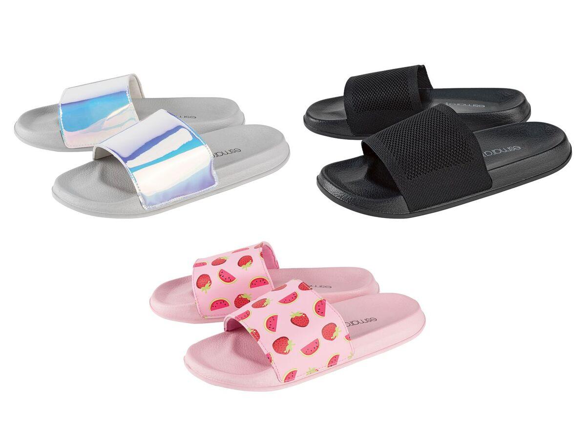 Bild 1 von ESMARA® Badepantoletten Damen, mit breiter Bandage, flexible Laufsohle, Textilfutter