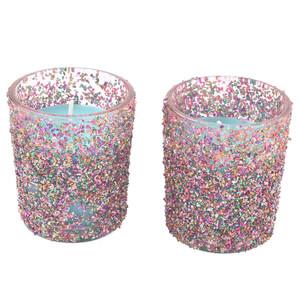 2 Kerzen im Glas mit Glitzer