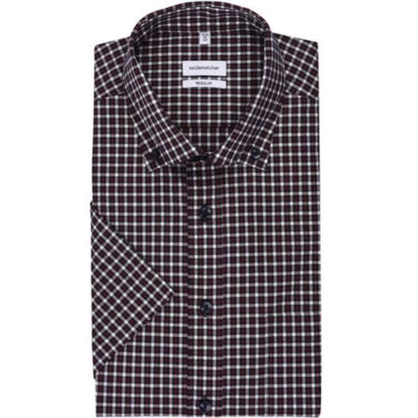 Seidensticker Businesshemd, Kurzarm, Button-Down, Regular Fit, bügelfrei, kariert, für Herren